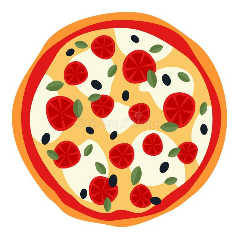 Grande pizza avec du fromage et des tomates sur le blanc illustration libre de droits