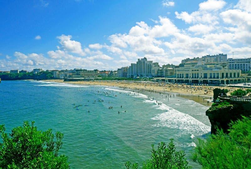 Grande Plage plaża w Biarritz, Francja obraz royalty free