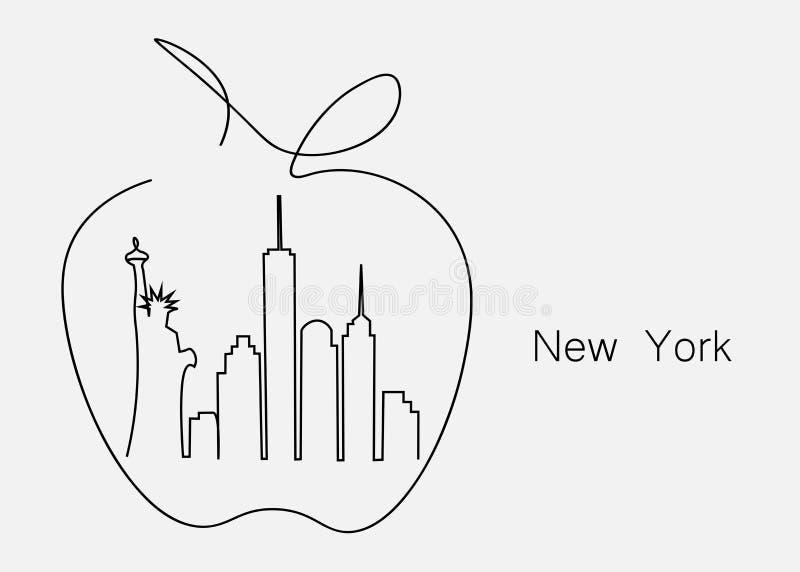 Grande pomme New York City, illustration de vecteur illustration libre de droits