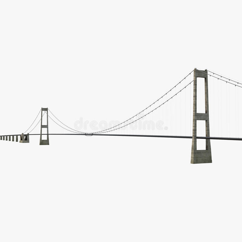 Grande ponte da relação fixa da correia no branco ilustração 3D ilustração stock
