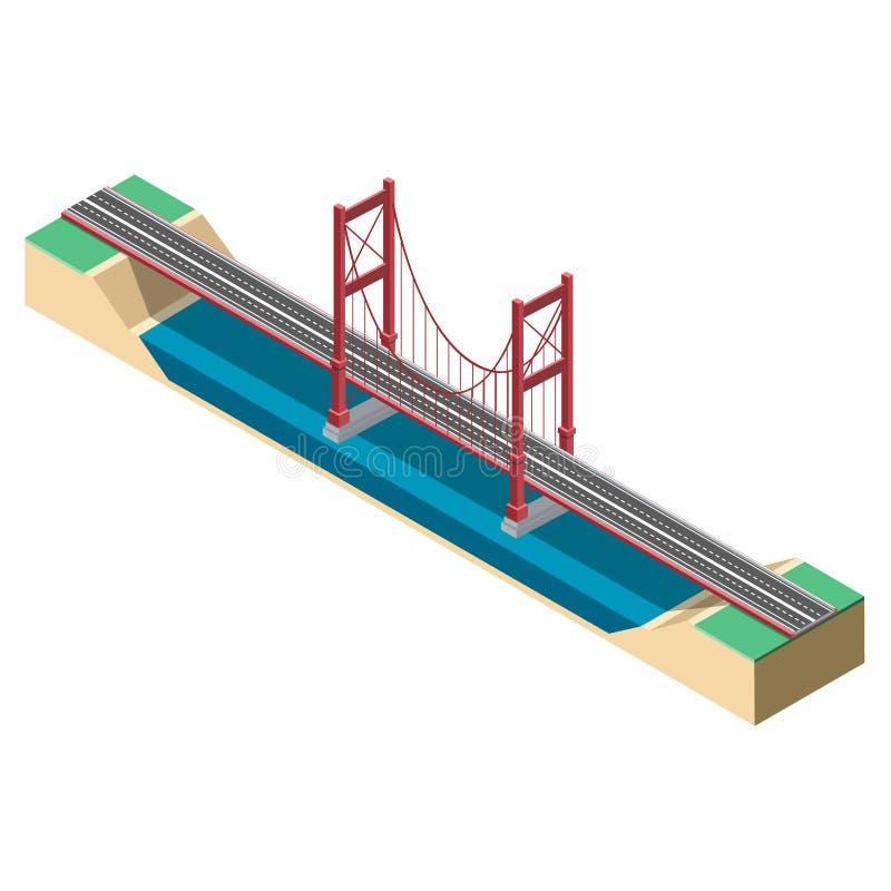 Grande ponte de suspensão isométrica ilustração royalty free