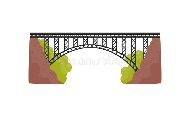 Grande ponte do metal Construção do ferro para o transporte Construção de aço para cruzar um rio ou uma ravina Vetor liso ilustração royalty free