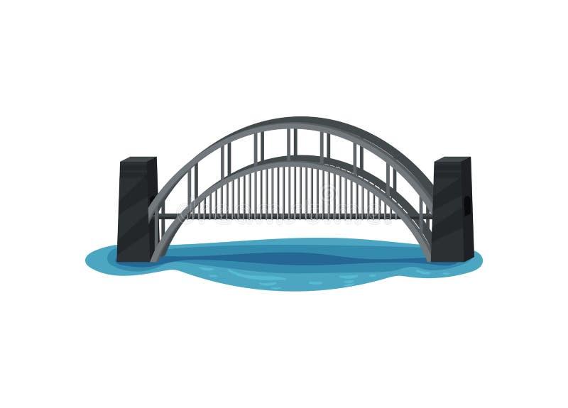 Grande ponte do metal sobre o rio azul Construção moderna para o transporte Infraestrutura de transporte urbano Vetor liso ilustração stock