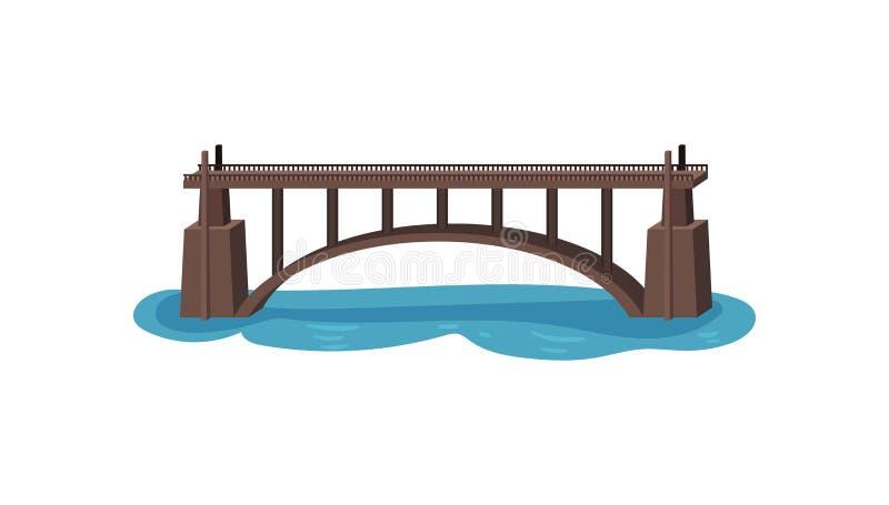 Grande ponte sobre o lago Passadiço reto Construção moderna para o transporte Elemento liso do vetor para o jogo móvel ilustração royalty free