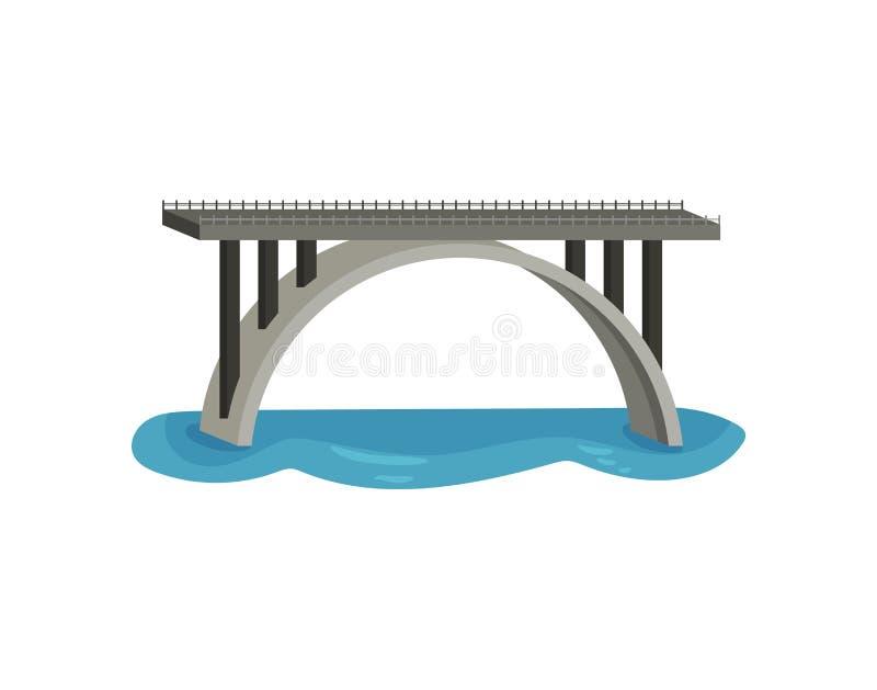 Grande ponte sobre o rio Construção moderna para o transporte Passadiço do metal com trilhos Projeto liso do vetor ilustração stock