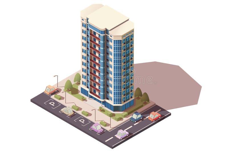 Grande, prédio de escritórios grande com estacionamento com carros ilustração do vetor