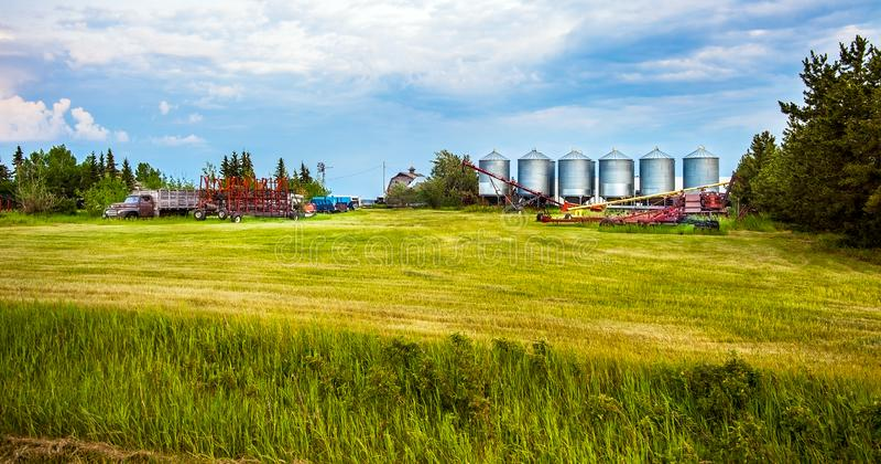 Grande Prairie Alberta Canada on June 21, 2018. Farm in Grande Prairie stock photo