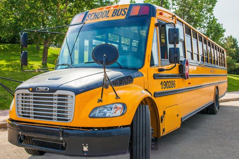 Grande Prairie Alberta Canada on June 22, 2018. School bus. In Grande Prairie stock images