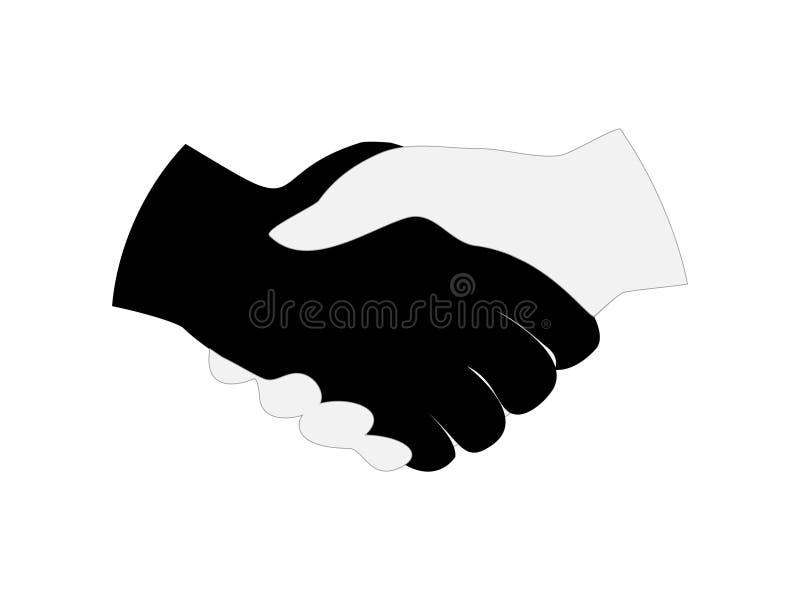 Grande progettazione della stretta di mano delle mani in bianco e nero illustrazione di stock