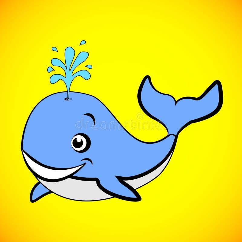 Grande progettazione di una balena blu del fumetto illustrazione vettoriale