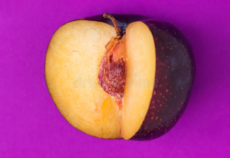 Grande prune pourpre organique mûre avec le segment coupé sur le fond ultra-violet Fin jaune de mine de chair  Minimaliste créati photographie stock libre de droits