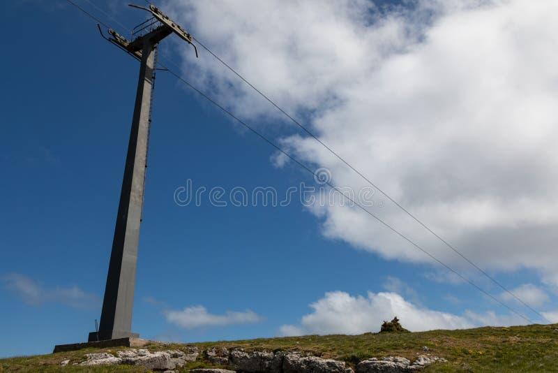 Grande puntone del metallo nella terra che ostacola le linee della cabina di funivia al grande Orme Llandudno Galles maggio 2019  immagini stock libere da diritti