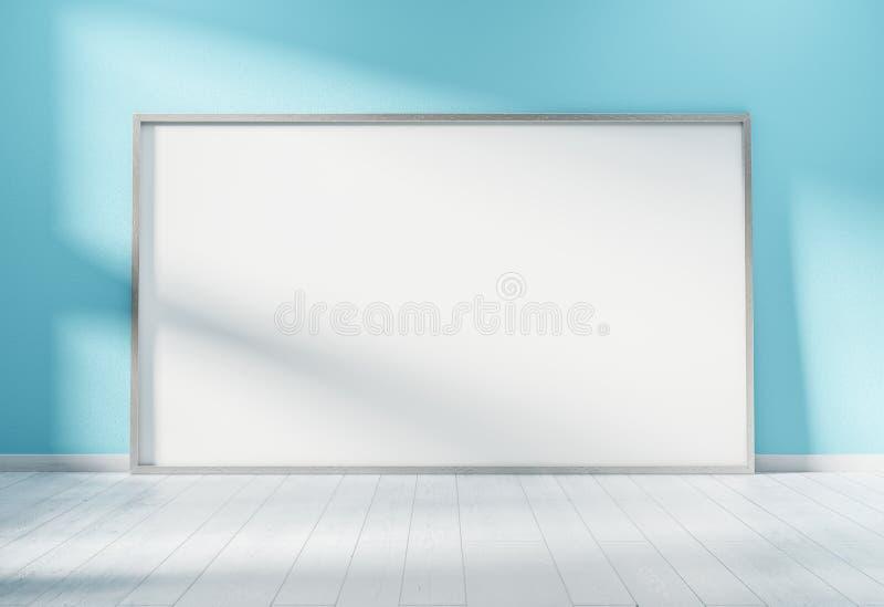 Grande quadro horizontal que inclina-se em uma rendição azul da parede 3D ilustração do vetor