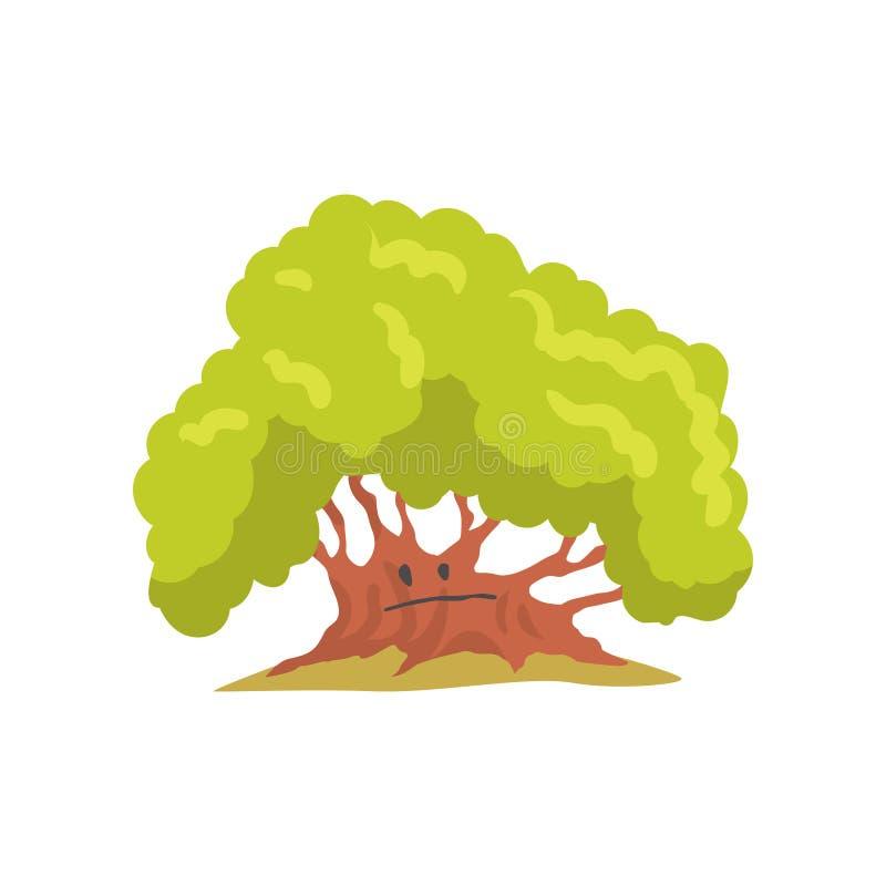 Grande quercia con il fronte triste Elemento naturale per la costruzione del paesaggio della foresta Progettazione piana di vetto royalty illustrazione gratis
