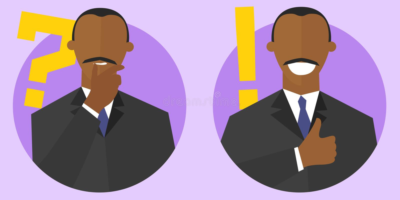 Grande question et meilleurs signes de concept de solution Style plat de bande dessinée Pensant, homme de couleur douteux Homme d illustration stock