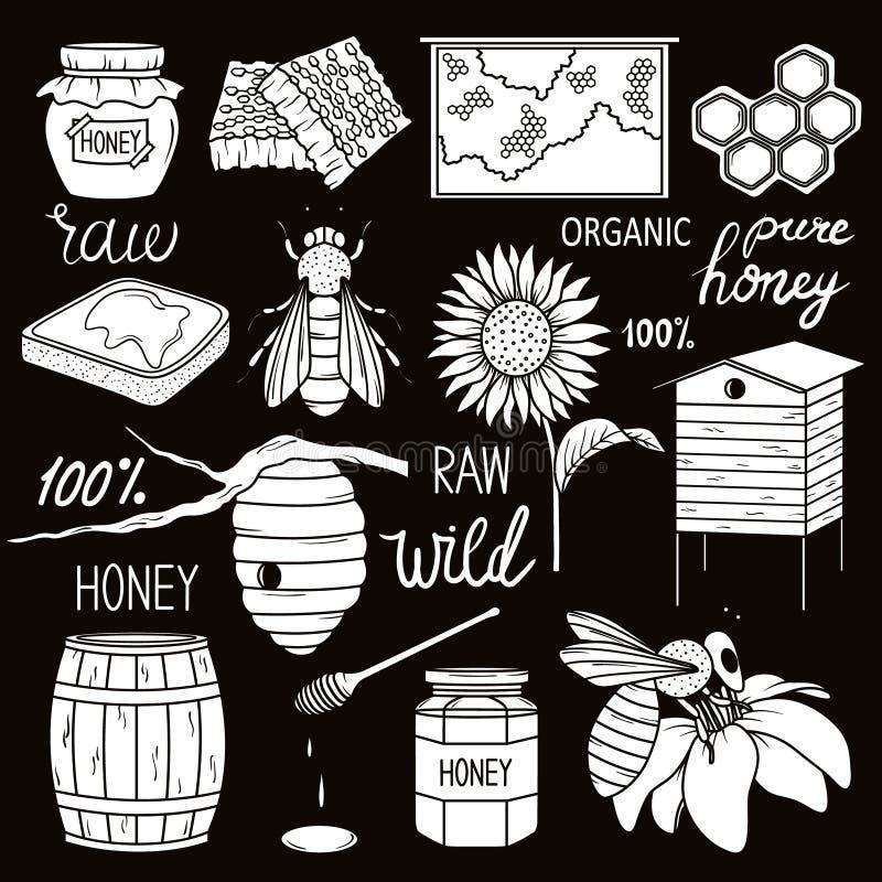 Grande raccolta dei simboli di apicoltura illustrazione di stock