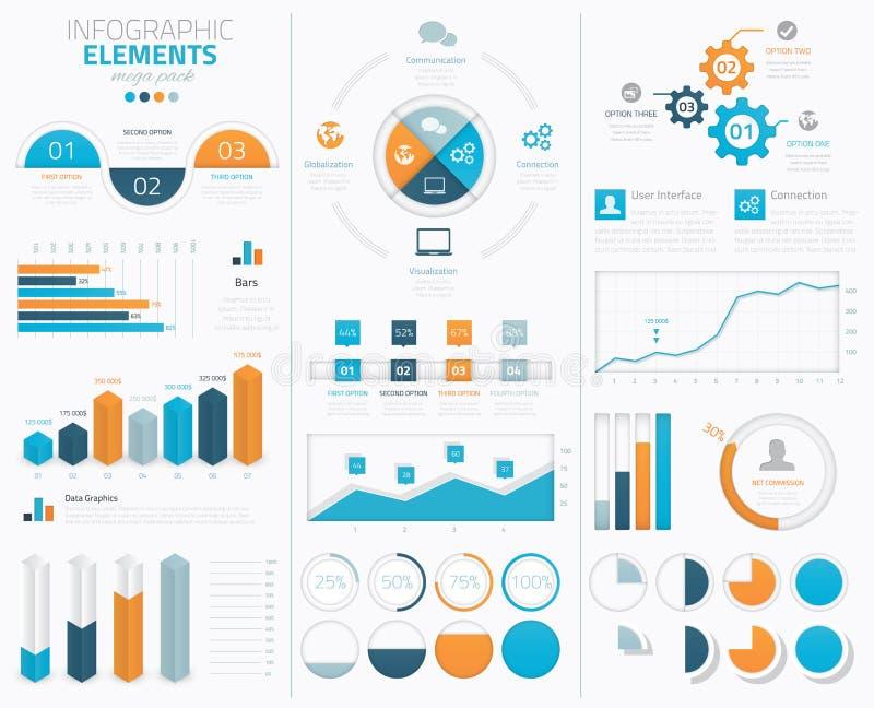 Grande raccolta infographic degli elementi di vettore al DISP illustrazione vettoriale