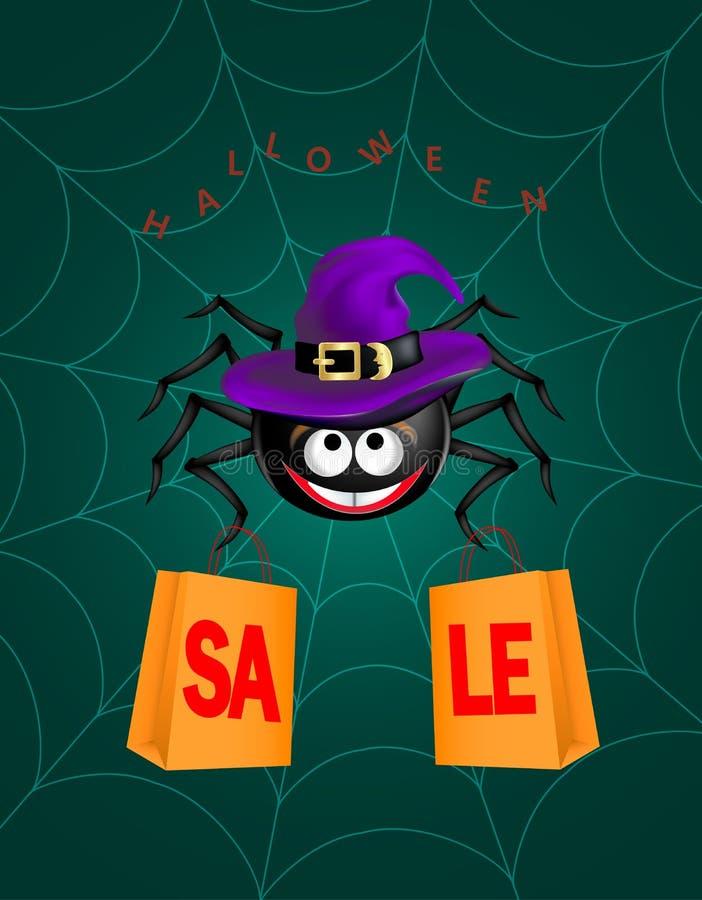Grande ragno sorridente felice sveglio nero che porta il cappello porpora della strega che appende sulla ragnatela con due sacche illustrazione vettoriale
