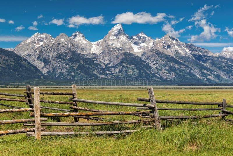 Grande recinto del recinto per bestiame e di Tetons immagini stock