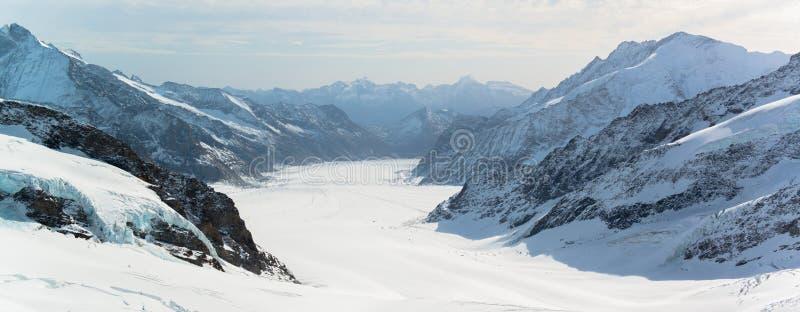 Grande região de Jungfrau da geleira de Aletsch imagens de stock