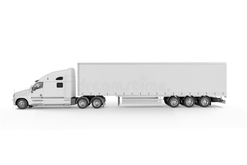 Grande remorque de camion - sur le fond blanc illustration stock