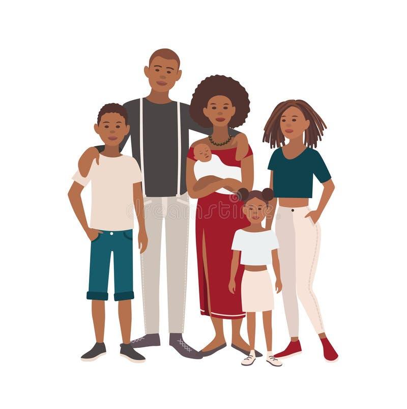 Grande retrato preto feliz da família Pai, mãe, filhos e filhas junto Ilustração do vetor de um projeto liso ilustração stock