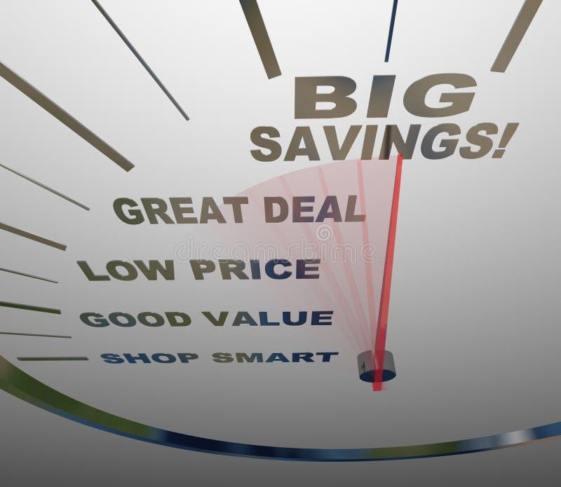 Grande risparmio - misure del tachimetro come salvare illustrazione di stock