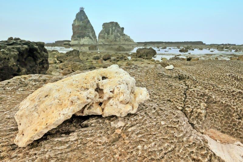 Grande rocha de Sawarna fotografia de stock