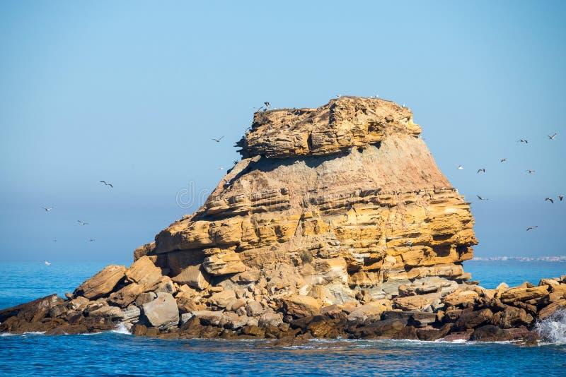 Grande roche en pierre en mer outre de la côte images libres de droits