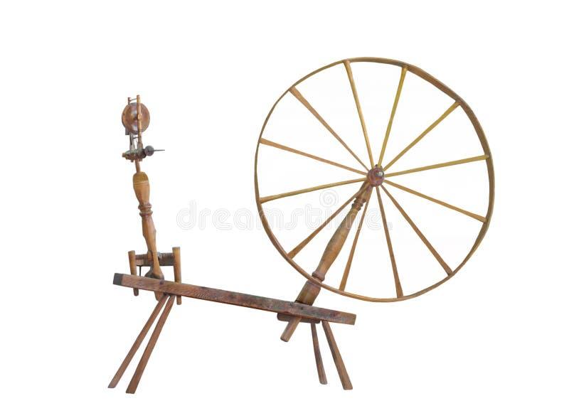 Grande rotella di filatura antica della rotella isolata. immagine stock