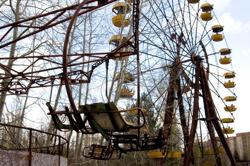 Grande roue dans la ville fantôme de Pripyat, Chernobyl images libres de droits