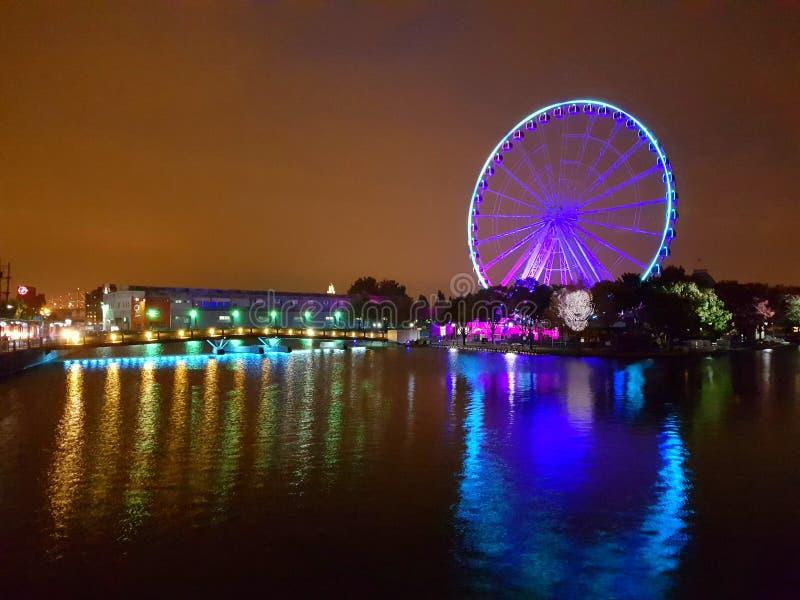 Big wheel de Montreal by night stock image