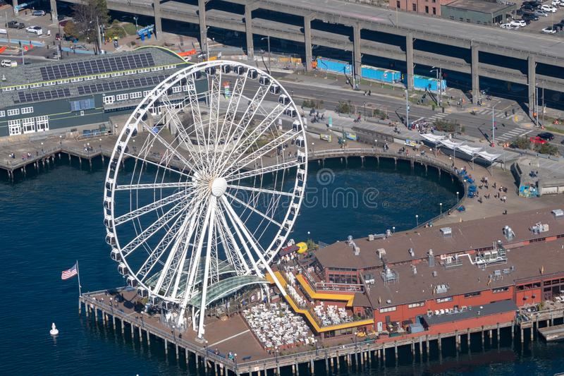Grande roue de Seattle de l'air photos stock