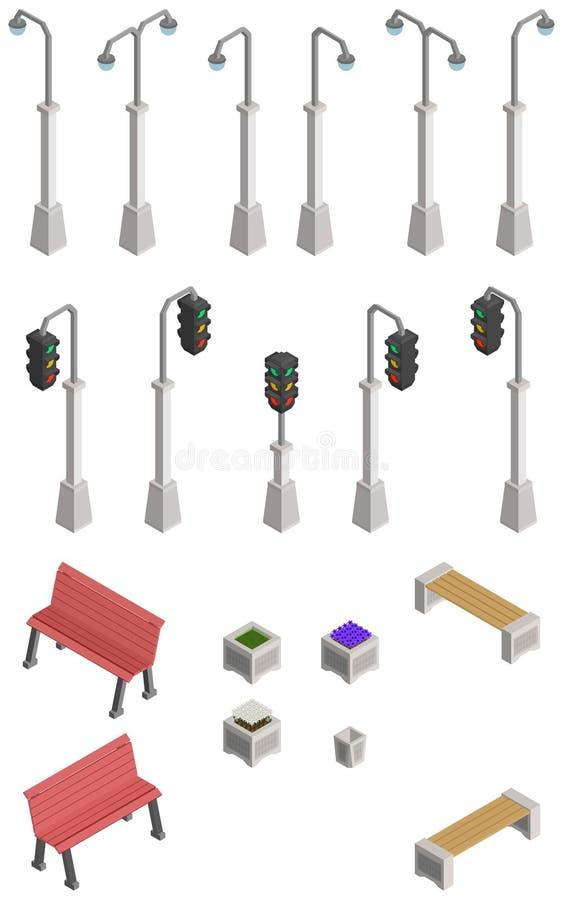 Grande sélection pour un parc isométrique illustration de vecteur