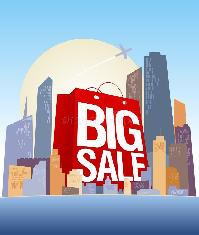 Grande sacchetto di acquisto di vendita in città. illustrazione di stock