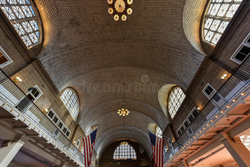 Grande salão de Ellis Island National Park - New York fotografia de stock royalty free