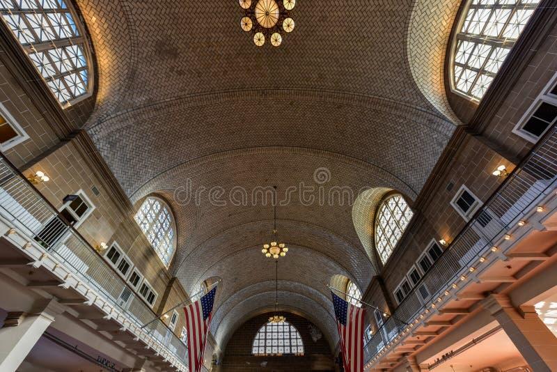 Grande salão de Ellis Island National Park - New York fotografia de stock royalty free