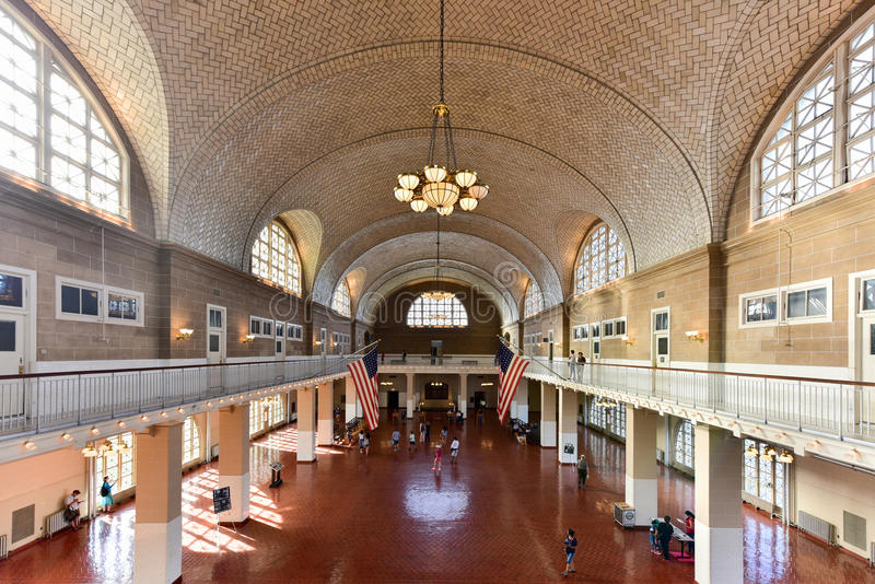 Grande salão de Ellis Island National Park - New York foto de stock royalty free