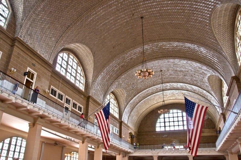 Grande salão do Ellis Island, New York fotos de stock royalty free