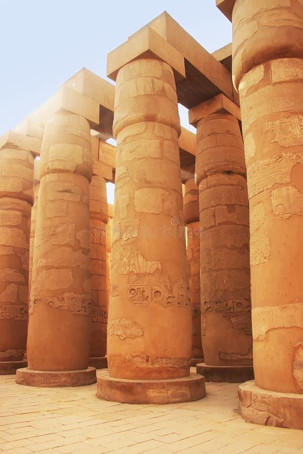 Grande Salão hipostilo, complexo do templo de Karnak, Luxor foto de stock