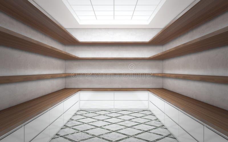 Grande sala brilhante do vestuário com prateleiras vazias ilustração do vetor