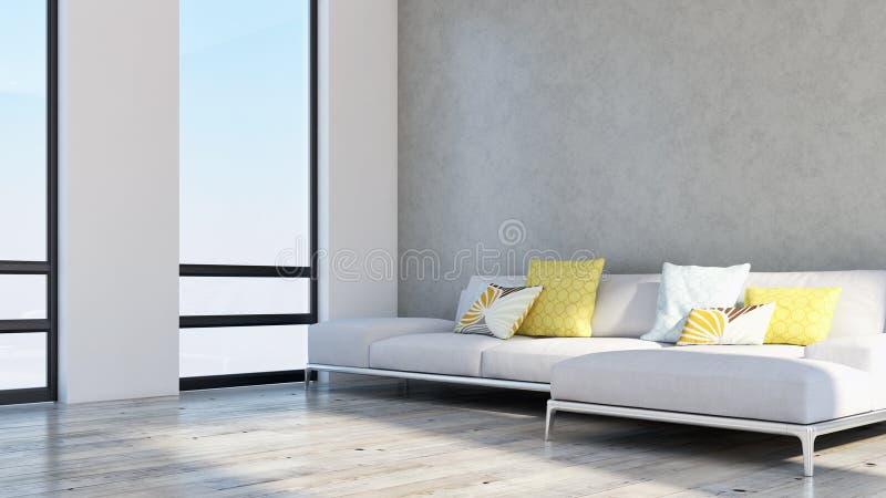 grande sala de visitas brilhante moderna luxuosa 3D do apartamento dos interiores com referência a ilustração do vetor
