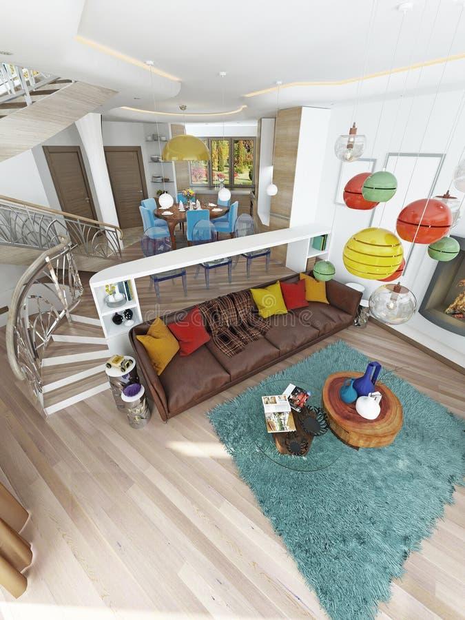 Grande sala de visitas luxuosa ao estilo do kitsch ilustração stock