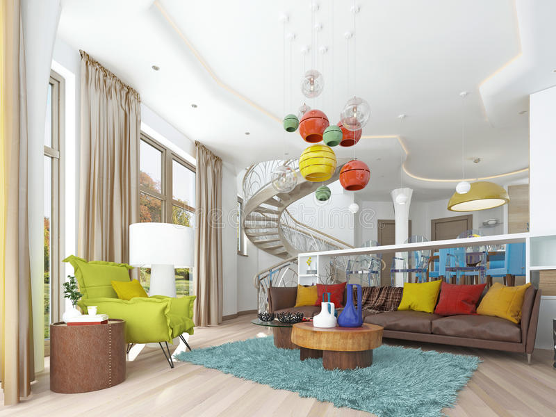Grande sala de visitas luxuosa ao estilo do kitsch ilustração royalty free