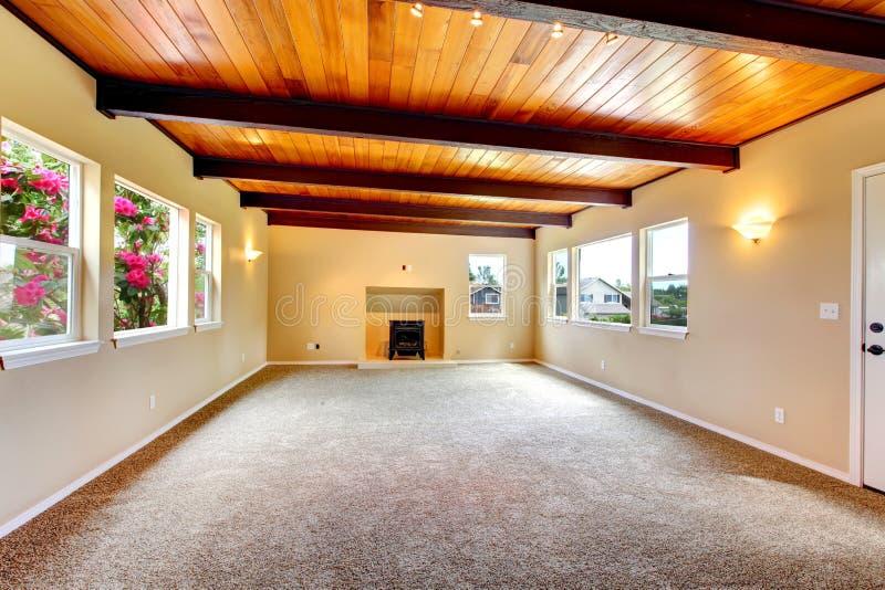 Grande sala de visitas vazia nova com teto e a chaminé de madeira. fotos de stock