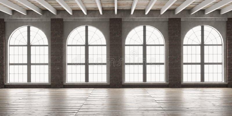 Grande sala vazia no estilo do sótão imagem de stock