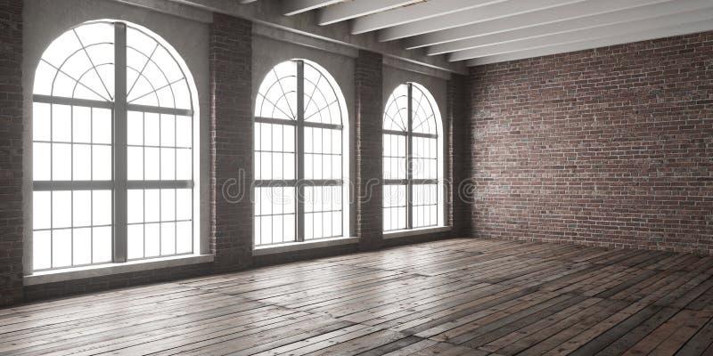 Grande sala vazia no estilo do sótão fotos de stock royalty free