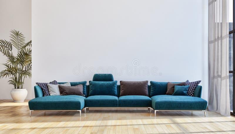 grande salone luminoso moderno di lusso 3D dell'appartamento degli interni con riferimento a fotografia stock libera da diritti