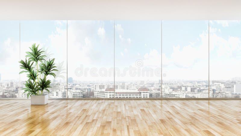 grande salone luminoso moderno di lusso dell'appartamento degli interni con immagini stock libere da diritti