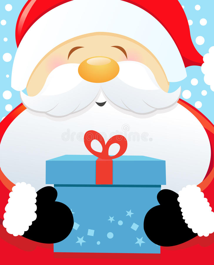 Grande Santa avec le cadeau illustration de vecteur